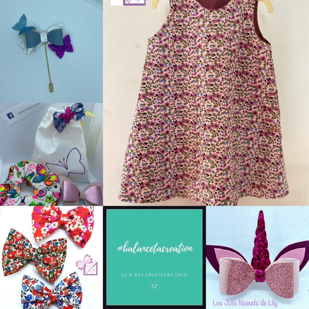 création fait main barrette noeud robe couture cadeau licorne noel anniversaire petite fille